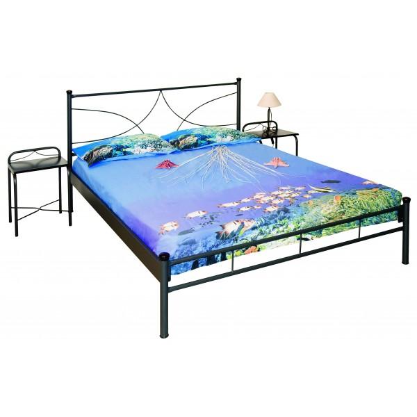Μεταλλικό κρεβάτι με στρώμα ενισχυμένο + τάβλες